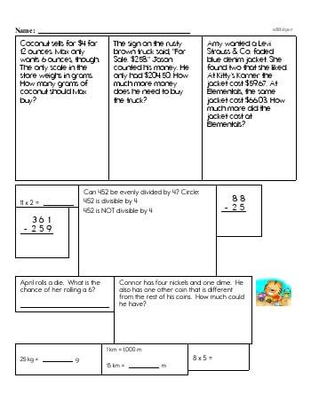 Sixth Grade Word Problems Resource Book (Week #5) worksheet