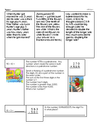 teach Sixth Grade Word Problems Resource Book (Week #10)