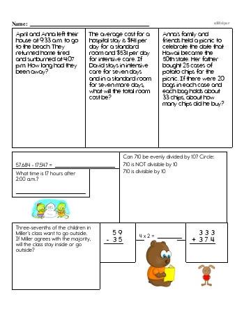 teach Sixth Grade Word Problems Resource Book (Week #12)