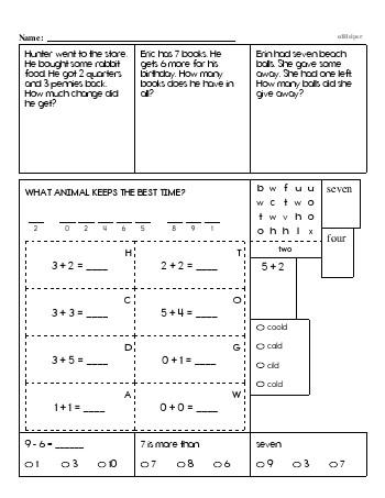 First Grade Word Problems Resource Book (Week #2) worksheet